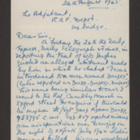 Letter from L Boldy to the Adjutant at RAF Depot Uxbridge